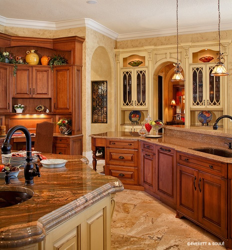 Mediterranean Kitchen Photos Design, Pictures, Remodel, Decor and Ideas - page 183  Like the colors & design in granite on kitchen island. KC