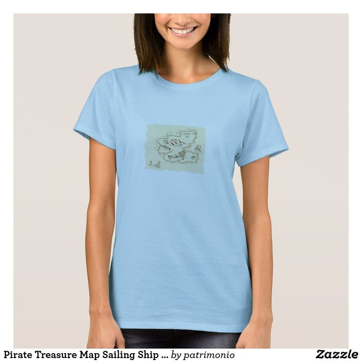 Pirate Treasure Map Sailing Ship Drawing. Ladies t-shirt showing a sketch style illustration of a pirate treasure map and sailing ship set on isolated background. #treasuremap #map #tshirt