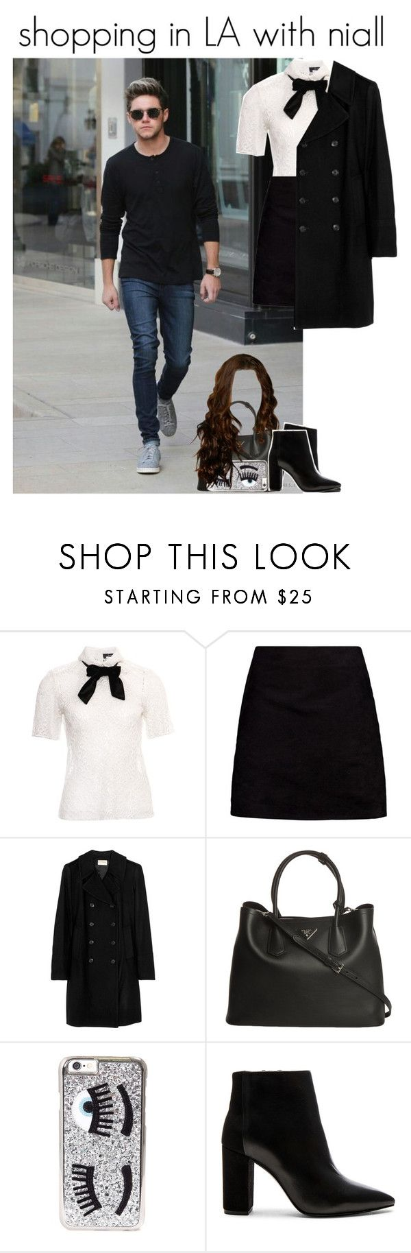 """""""shopping in LA with niall"""" by onlymyniallhoran ❤ liked on Polyvore featuring The Kooples, Boohoo, DKNY, Prada and Chiara Ferragni"""