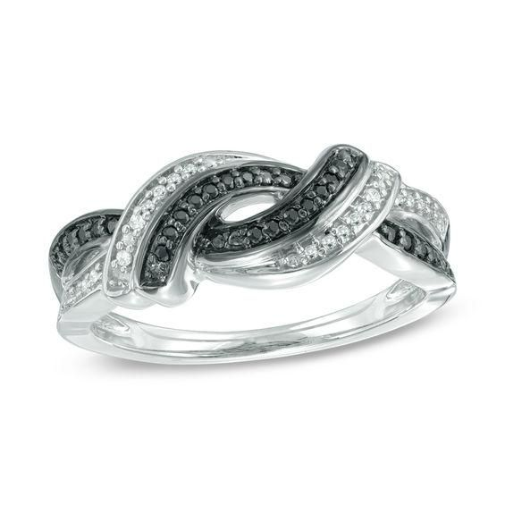 6fd3bfc0719 T.w. Enhanced Black and White Diamond Knot Split Shank Ring in Sterling  Silver - AdoreWe.com