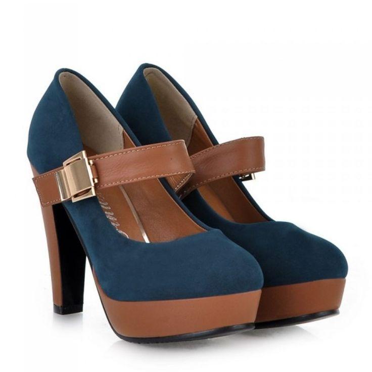 Модные женские туфли на платформе  (US 18.62) #туфли #платформа #ремешок #синие