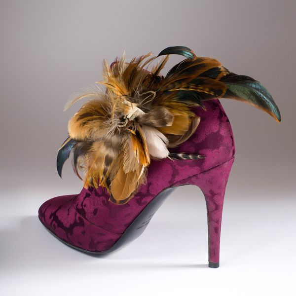 """""""La Chasse Galante"""" in Rubelli purple silk brocade with """"Diana the Huntress"""" feathers http://store.leschaussonsdelabelle.com"""