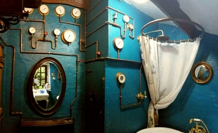 I love our steampunk bathroom, just got to find some perfect dispensers for shampoo