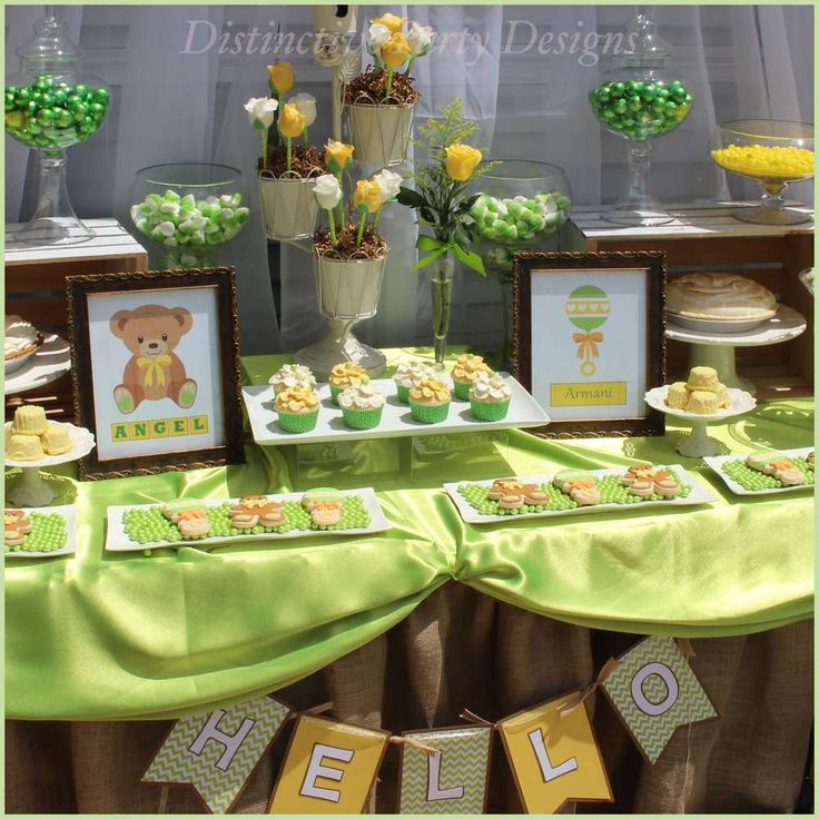 Green and yellow teddy bear baby shower birthday party! See more party ideas at CatchMyParty.com!