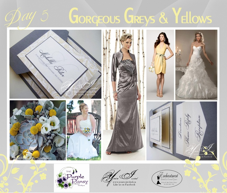 Day 5 Inspiration: Gorgeous Greys and Yellow Wedding The Purple Pansy www.purplepansy.ca You're Invited www.youre-invited.ca Enchantment Bridal www.enchantmentbr... Picture of You're Invited Invitations Enchantment Bridal Dresses & The Purple Pansy Floral Arrangements