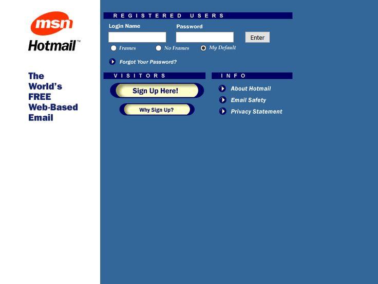 Hotmail website in 1998