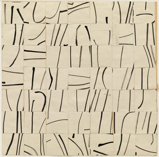 Ellsworth Kelly (American, b 1923). Brushstrokes Cut into Forty-Nine Squares and Arranged by Chance. 1951
