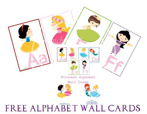 Free Alphabet Wall Cards from Enchanted Homeschooling Mom: Princess Manuscript Alphabet Wall Cards Printable