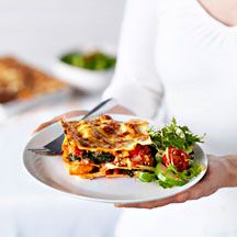 Chicken, sweet potato and spinach lasagne