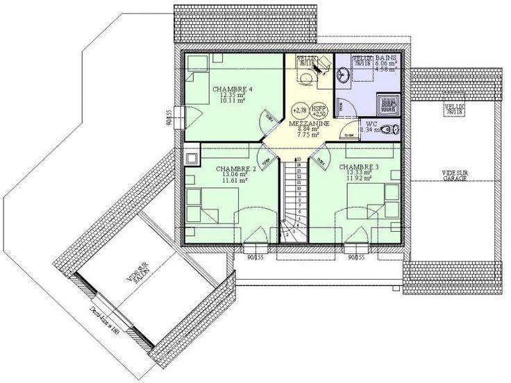 plan de maison contemporaine 4 chambres avec mezzanine maison plans pinterest mezzanine - Plan De Maison Avec Mezzanine