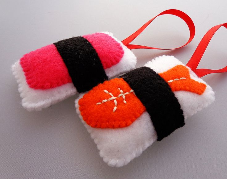Sushi Christmas Ornaments - Ebi Shrimp & Spam Musubi. $18.50, via Etsy.