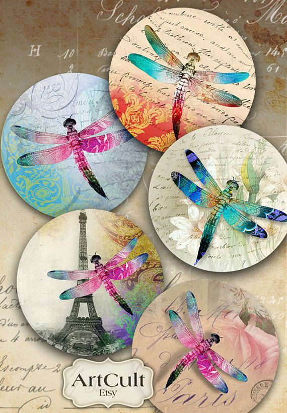 DRAGONFLIES - Digital Collage Sheet 2.5 inch Printable circle images for Pocket Mirrors, Magnets, Paper Weights