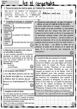 Fichier de lecture compréhension CE2
