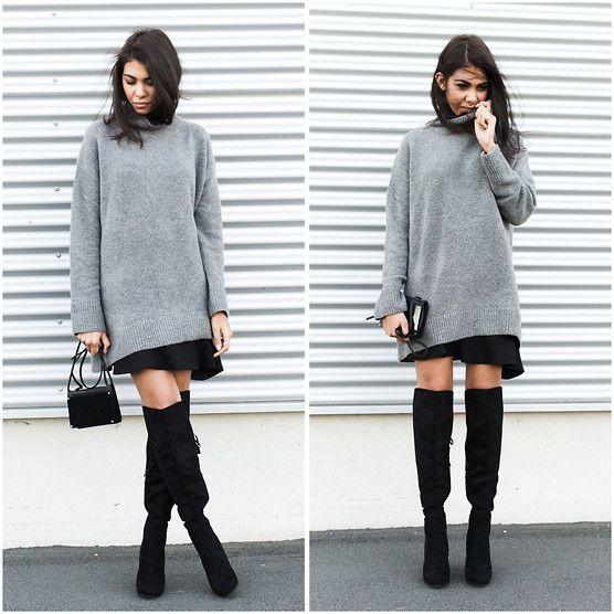 Para quando estiver frio, mas não muito; bota acima do joelho com saia soltinha e suéter grandão em cima. Conforto.
