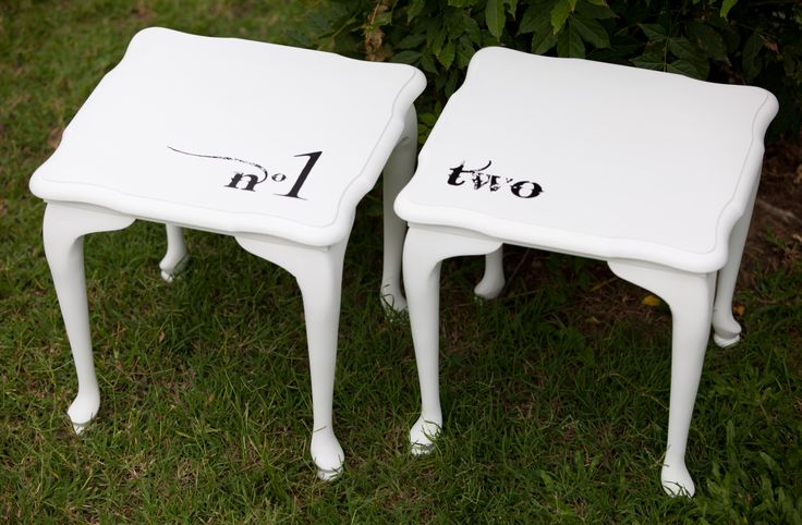 These tables have been hand painted and given a wax finish. See Nine Stitches on Facebook for more pictures... https://www.facebook.com/pages/Nine-Stitches/1395225480724976