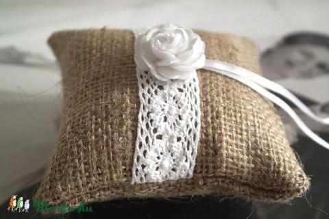 Meska - Vintage zsákvászon gyűrűpárna (mini) Aggies kézművestől