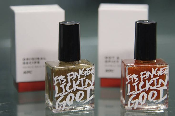 """Because """"it's finger lickin good"""": Kentucky Fried Chicken introduces edible, KFC-flavoured nail polish in Hongkong market. Expansion into other markets uncertain so far (May 2016)."""