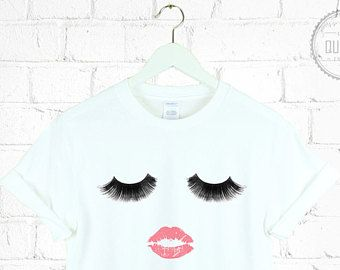 LIPSTICK KISS EYELASHES t-shirt shirt tee unisex mens womens make up beauty blogger Zoella graphic tumblr pinterest 100% cotton *brand new