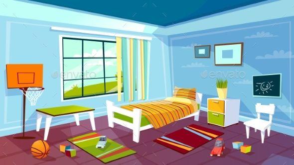 Child Room Vector Cartoon Illustration Of Kid Boy Com Imagens