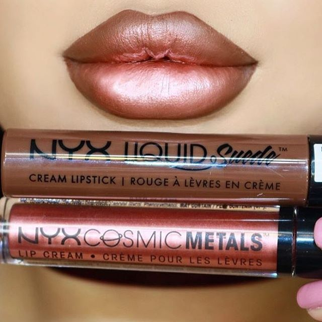 Liquid Suede Cream Lipstick in 'Downtown Beauty' along with our Cosmic Metals Lip Cream in 'Speed of Light'!