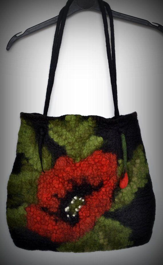 Felted bag nuno felted bag wool bag poppy bag bag for by Gariana