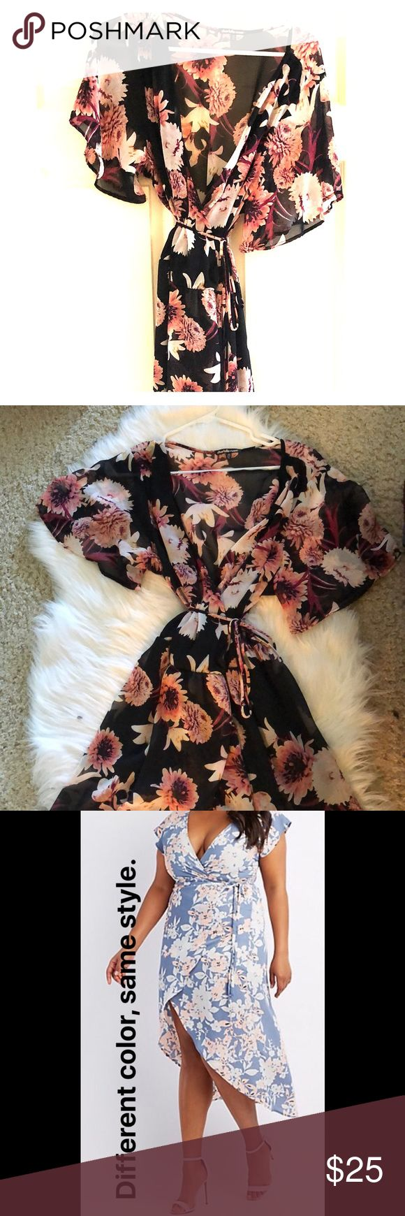 Charlotte Ruse Floral Wrap Maxi Dress This dress has only been worn once! Almost new. Great beach, summer, or vacation dress. High-low cut is very flattering. Looks cute with wedges or fancy sandals. Photo from retailer website shows a different pattern in the same style. Charlotte Russe Dresses High Low