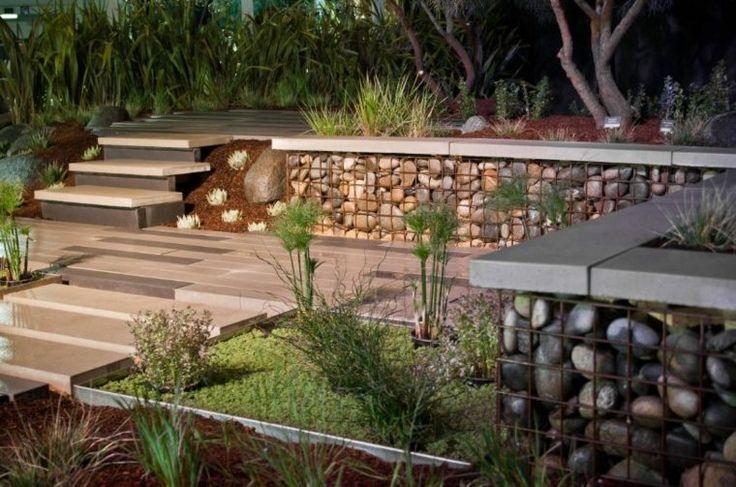 tendance de déco avec gabion : terrasse design