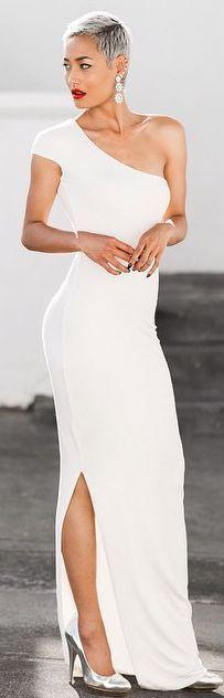 White Bodycon Asymmetrical ~ Maxi Dress @roressclothes closet ideas women fashion outfit clothing style