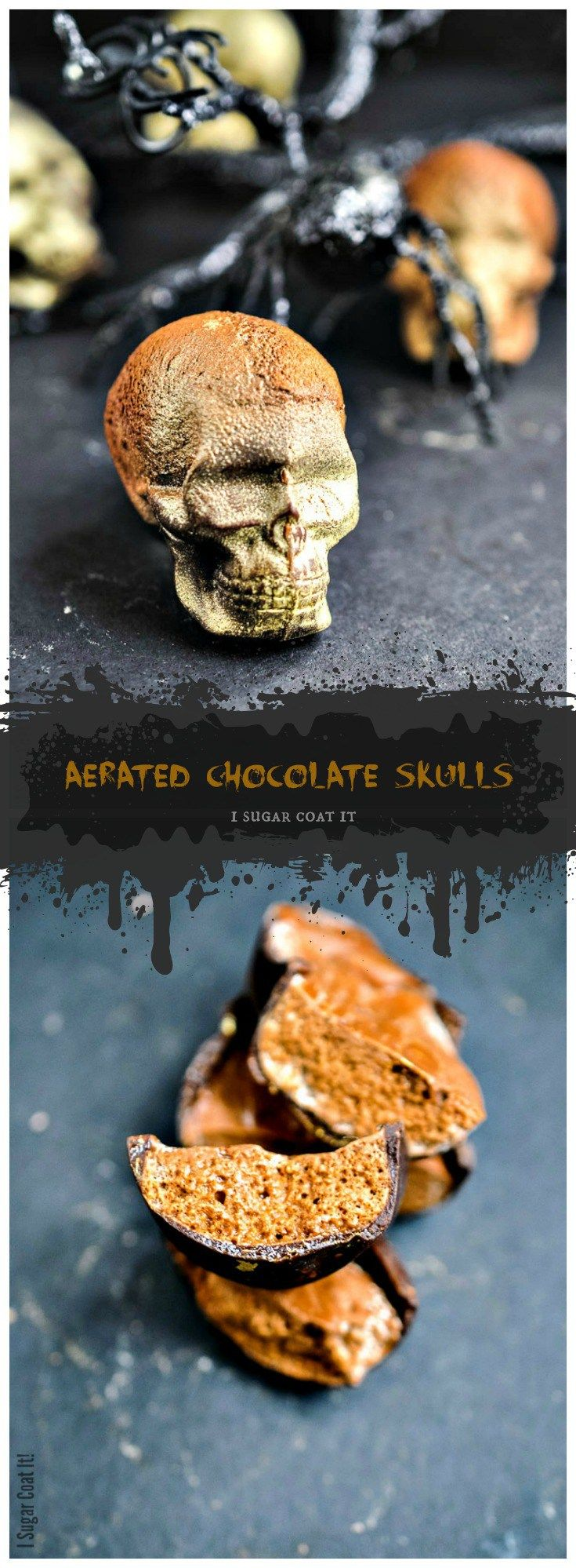 These fully edible Aerated Milk Chocolate Skulls filled with bubbly clouds of espresso milk chocolate make a fun adult halloween treat.