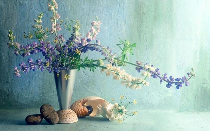 букет, ракушка, цветы, ваза, люпины