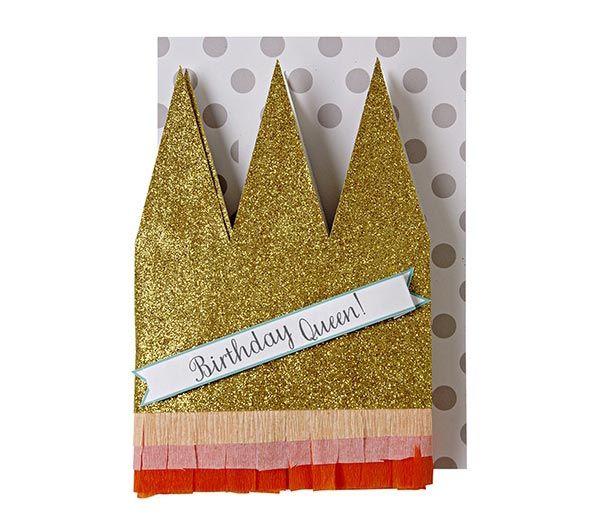 Kaart met kroontje - Birthday Queen. www.Millows.nl