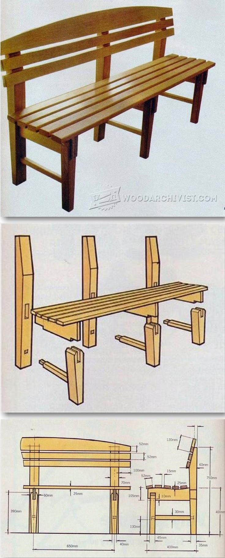 Outdoor wood table plans - Bench Seat Plans Outdoor Furniture Plans Projects Woodarchivist Com
