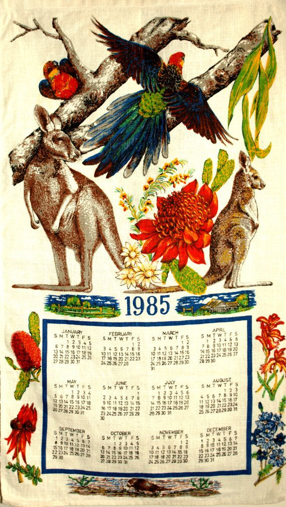 Retro 1985 Australia Calendar Wildlife Tea Towel  by FunkyKoala