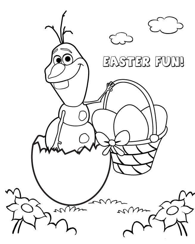 Olaf With Easter Egg Coloring Page Easter Coloring Pages Easter Egg Coloring Pages Frozen Coloring Pages