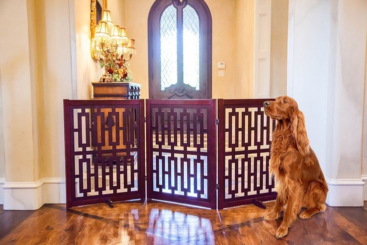 "CONTEMPORARY DESIGNER DOG GATE 35"" – Free shipping and tax included on all designer dog gates. Add style to your home with our luxury pet gates.  Perfect for puppies too! Our indoor and outdoor dog gates will be a great addition to your home.  #dog #doggate #talldoggate #petgate #puppygate #designerpetfurniture"
