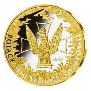 Rewers medalu upamiętniającego legendę Dywizjonu 303 przedstawia Orła ze sztycy sztandaru międzywojennego pułku Wojska Polskiego na tle Krzyża Walecznych