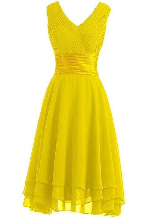Victory Bridal Einfach V-Ausschnitt Hi-Lo mit Falten Knielang Abendkleider Kurz Chiffon Tanzkleider Sommerkleider Brautjungfernkleider-40 Violett
