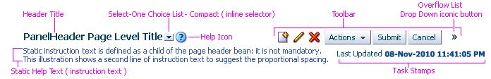 Despite the visual design, Oracle tried to address the situations of too many actions icons, interchangeable header, etc