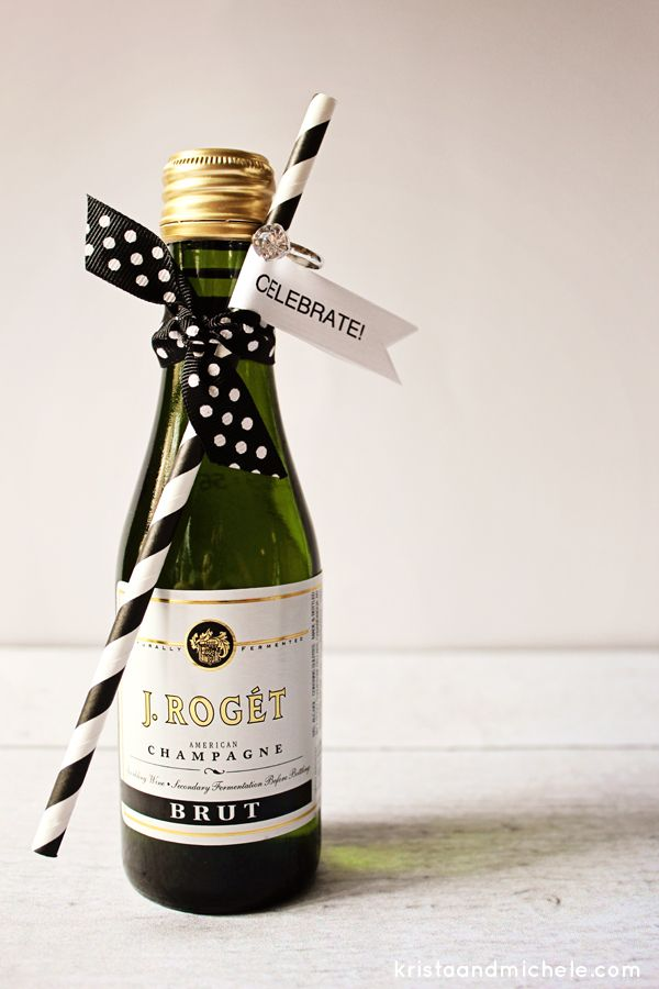 Mini-Champagne Bottle Engagement Party Favors {Free printable}