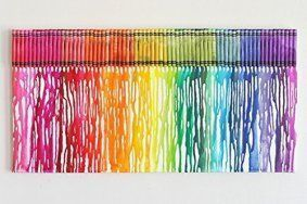 I love rainbow wall décor it is super cute, colorful and  trendy.  It is my favorite type of  abstract wall art.  In fact, rainbow wall  art décor is one of the best ways to elevate a bland room.  You can have rainbow canvas wall art, or  rainbow wall clocks along with other rainbow wall décor for a very unique home décor  theme. #walldecor #rainbow      Crayon Art Hip Melted Crayon Art Rainbow Colors 16x20