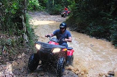Rip your way around rainforest tracks on a quad bike at Daintree Station near Port Douglas. Queensland, Australia