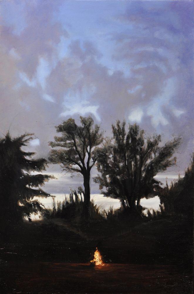 """Andrea Esposito, """"Il fuoco in inverno"""", olio su tela 100x70cm, 2013"""