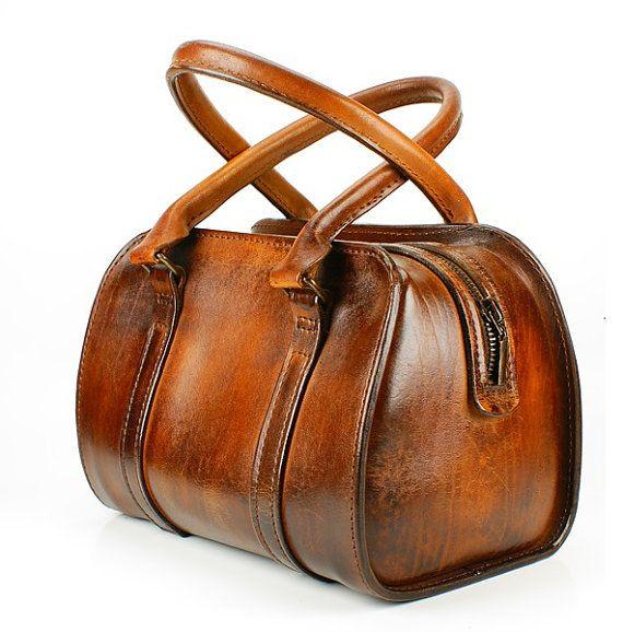 Classic English Brown Genuine Leather valise by FeltSilkArtGift