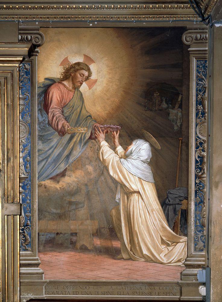 Siena (Italia) - Santuario Casa di Santa Caterina da Siena - Oratorio della Camera - Alessandro Franchi-Gaetano Marinelli - Gesù offre a Caterina una corona d'oro e una di spine - 1896.