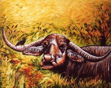 """Saatchi Art Artist Dan Civa; Painting, """"Wild buffalo in Animal Sanctuary, Sri Lanka"""" #art"""