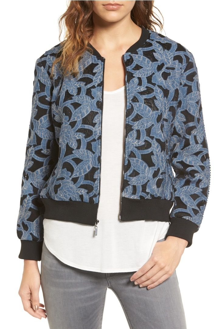 A bomber that's versatile enough to wear in and out of the office. Complete with embroidery.