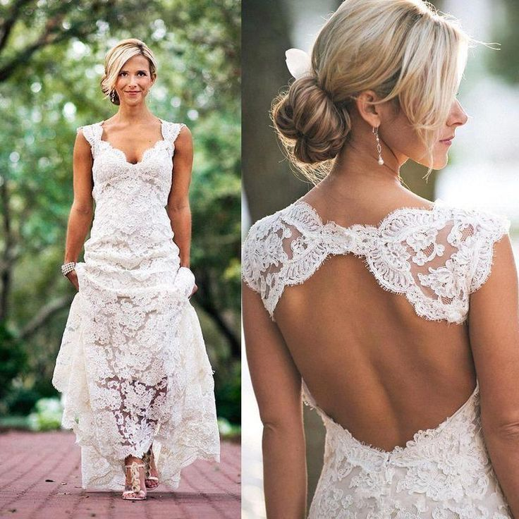 2016 Full Lace Wedding Dresses Country Style Pluging V Neck Cap Sleeves Keyhole Back A Line Vintage Custom Made Bridal Gowns Vestios Bridal Dresses Cheap Bride Dresses Online From Allanhu, $171.73| Dhgate.Com