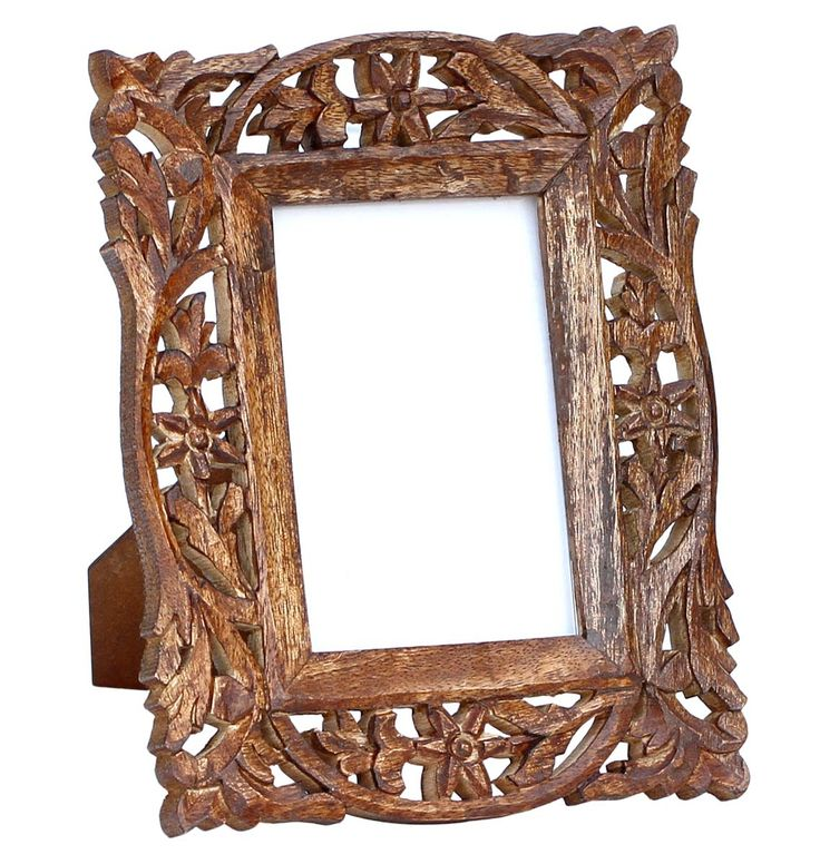 Wholesale Holiday & Christmas Gifts - 4x6 Inches Brown Picture Frame in Bulk - Hand Carved Vintage-Look Wooden Photo Frame in Jali Work - Home Decor Picture Frames from India