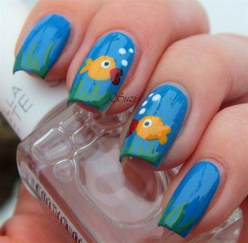 65+Most Eye Catching Beautiful Nail Art Ideas - Pinterest'teki 25'den Fazla En Iyi Fish Nail Art Fikri Plaj