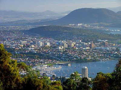 View of Hobart, Tasmania from Mt. Nelson.